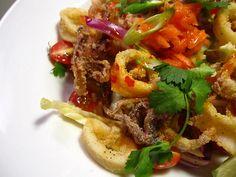 Crispy Thai Calamari Salad (serves 2 as a main dish)