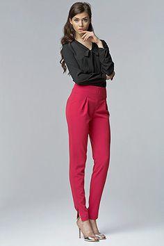 Pantalon Chic Femme Taille Haute Rose Nife 34 36 38 40 42