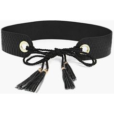 Boohoo Keira Tassel Obi Belt ($14) ❤ liked on Polyvore featuring accessories, belts, black, skinny braided belt, fake belts, thin braided belt, obi belt and tassel belt