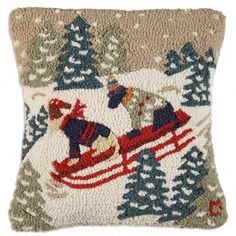 Daring dogs on sled, Chandler 4 Corners hooked pillows.