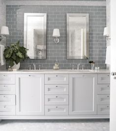 Bathroom decor for your master bathroom renovation. Learn bathroom organization, master bathroom decor some ideas, master bathroom tile tips, bathroom paint colors, and much more. Bathroom Renos, Grey Bathrooms, Beautiful Bathrooms, Small Bathroom, Bathroom Gray, Bathroom Wall, Glamorous Bathroom, Bathroom Vanities, Bathroom Remodeling