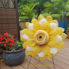 This amazing DIY yellow flower wreath this the perfect item for inside your home or on that covered porch! This DIY yellow flower wreath was created using the large Unique in the Creek flower board! Get yours today by contacting Angie or goto the Unique in the Creek shop to DIY your very own yellow flower wreath by getting your very own flower board or one of our other many wreathing boards today! #diywreath #diyflowerwreath #diyhomedecor Diy Spring Wreath, Diy Wreath, Wreath Ideas, Burlap Wreath, Diy Flowers, Paper Flowers, Diy Party Decorations, Deco Mesh Wreaths, How To Make Wreaths