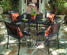 Summer Classics' Verano is the perfect wrought iron patio furniture collection for any outdoor space with its square hand-woven lattice pattern formed by stamped steel that is electro-galvanized then powder coated in ultra violet resistant polyester/acrylic blended paint: finished in Ebony.