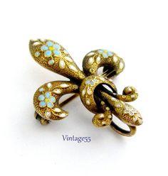 Watch Pin Gold Enameled Floral Krementz Antique