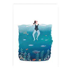 THE OCEAN & I Art Print by Jade Fisher #Shiro #Echo #Digital #Favini