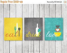 Styling Kitchen Wall Art Decor; Modern Kitchen Eat Drink Love Art Prints. Beautiful fresh modern colors: Shades of Mustard, Yellow, Coral, Turquoise & White. ** And the best part is that Colors are fully customizable too. Comes in Your choice of several size options. Set of (3) Dimensions: (You Choose Sizes - Each print) 4 x 6, 5 x 7 OR 8 x 10 .......COMES UNFRAMED & ARE NOT CANVASES....... (Prints Will Require Framing) : SEE THEM DISPLAYED HORIZONTALLY (Landscape) HERE: https:/...