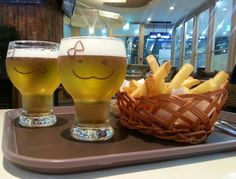 winking beer and chips ! !