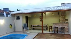 Home Garden Design, Backyard Garden Design, Modern Backyard, Pools For Small Yards, Outdoor Kitchen Bars, Cozy Place, Farmhouse Plans, Barbecue, Bbq Grill