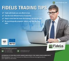 Fidelis Trading Tips  • Trade with funds you can afford to lose • Use the most efficient forms of execution • Keep in mind that the lower the leverage, the less the risk • Be psychologically prepared- reduce your fear and keep calm  For forex trading or currency trading please visit http://www.fcmforex.com/  #forextrading #currencytrading #highimpactdata #forexevents #fidelis #USD #Britain #India #Cyprus #Auckland #capital