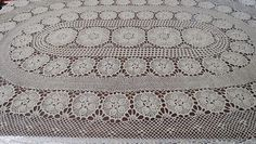 Oval Crochet Tablecloth by LouisaAmeliaJane on Etsy, $52.00
