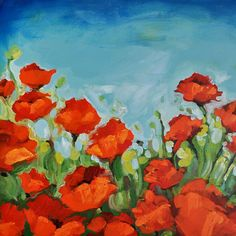 Red Poppy Painting - Large Original Painting - Custom Made - Flower Painting - 24 x 30 Inch