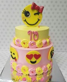All buttercream cake with only happy emojis!
