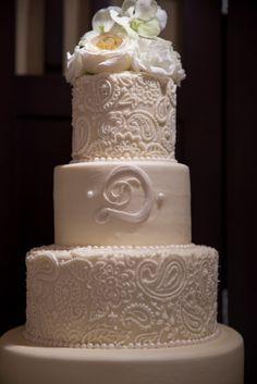 #Wedding #Cake #White #Peonies