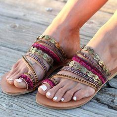 183e430f973ff5 NAN JIU MOUNTAIN Shoes Women s Handmade Bohemian Wind Flat Sandals –  Bohemian Moon Boutique Rome Beach