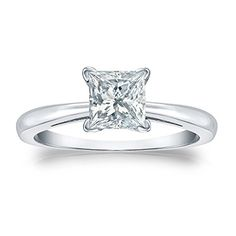 This platinum princess-cut diamond solitaire ring that holds 1/4 ct. to 1 ct. total weight diamond is presented in a v-end prong setting with ring sizes available from 4-9....