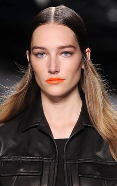 Beauty - The rag & bone girl usually gets a swish of liner and Kate Moss-inspired hair, but she finally got a lip for spring! Gucci Westman used a mix of orange pigments from Revlon to build the bright shade. Makeup Trends 2014, 2014 Trends, Beauty Trends, Nail Trends, Beauty Makeup, Hair Makeup, Hair Beauty, Orange Lipstick, Coral Lips