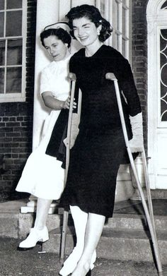 Jackie leaving the hospital after breaking her ankle (she broke it in one of the famous Kennedy football games)