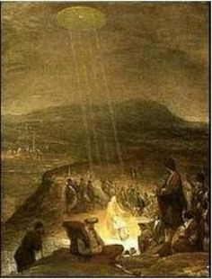 Here is a light shining down during  the baptism of Christ in this art.    Why is God depicted as a round disk  with four beams of light in the sky?