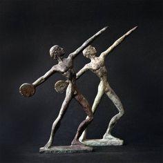 Metal Art Sculpture, Discus Thrower Athlete Bronze Figurine (Discobolus), Ancient Greece Olympic Games