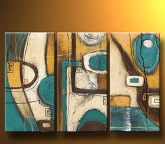 Cuadros Abstractos Modernos En Acrilico  Texturados-relieves - $ 999,99