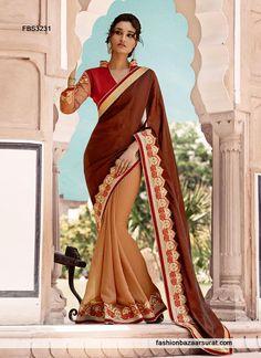 Half And Half Striking Satin Beige Designer Saree