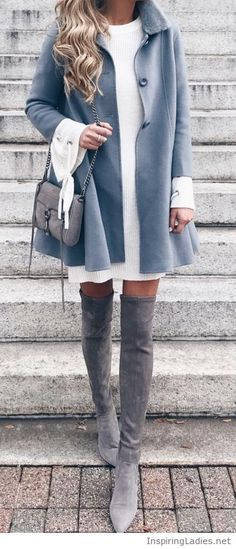 White dress, coat and grey accessories | Inspiring Ladies