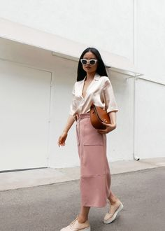 Neutrals, pink maxi skirt, pink shoes and blouse, white sunglasses, street style, fashion blogger, style blog, ootd