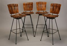 Set Of 4 Arthur Umanoff Slat Wood And Wrought Iron Bar Height Swivel Barstools