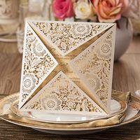 Laser Cut White Color Square shape Wedding Invitation Card