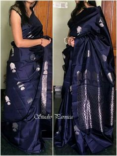New Look Navy Blue Color Soft Silk Designer Saree – Beautiful Saree Blue Silk Saree, Soft Silk Sarees, Cotton Saree, Navy Blue Saree, Indian Dresses, Indian Outfits, Phulkari Saree, Stylish Sarees, Kanchipuram Saree