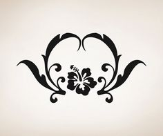 Vinyl Wall Decal Sticker Hibiscus with Leaves by Stickerbrand