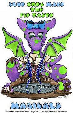 """Share some giggles with this Little Wings Dragons! """"The Pie Tastes Magicals"""" by Carla Morrow $24.95 Dragons, Joker, Wings, Pie, Fictional Characters, Torte, Cake, Kite, Fruit Pie"""