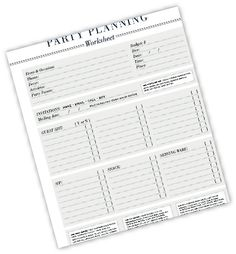 Party Planning Printables - bjl