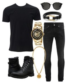 """""""Man in black"""" by leopardlover111 ❤ liked on Polyvore featuring Alexander McQueen, Timberland, Carrera, David Yurman, Kenneth Cole, Versace, men's fashion and menswear"""