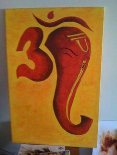 Om Ganesh by *rkuk on deviantART Ganesha Drawing, Lord Ganesha Paintings, Ganesha Art, Om Ganesh, Ganesh Rangoli, Simple Canvas Paintings, Small Canvas Art, Mini Canvas Art, Indian Art Paintings