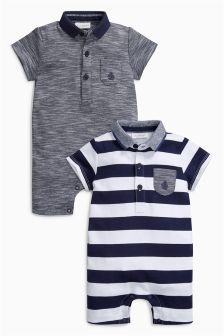 Navy Polo Rompers Two Pack (0mths-2yrs)