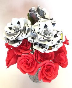 Poker Flower Bouquet, 12 Paper Flowers, Unique Valentines Gift, Casino Party, Playing Cards, Vegas Wedding, Poker Party Decorations, Roses by ThePaintedPetaler on Etsy https://www.etsy.com/listing/261975939/poker-flower-bouquet-12-paper-flowers