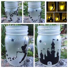 Custom character mason jar luminaries completed. Accented with rhinestones these jars make a great addition to a nursery or theme enthusiast! www.SimplyMadeByRo.com