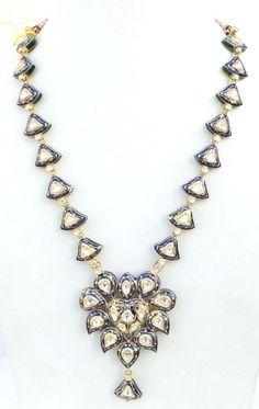 ANTIQUE 20 K GOLD DIAMOND KUNDAN ENAMELWORK NECKLACE