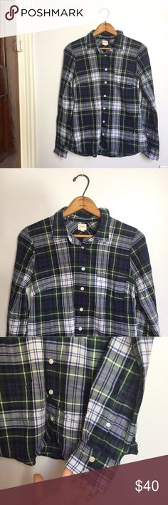 "[J. Crew] The Perfect Shirt blue/green plaid - Size: S - Condition: great  - Color: blue, green, white, cream - Pockets: yes - Closure: buttons - Style: The Perfect Shirt - Extra notes:  *Measurements:  Bust: 18"" flat Length: 26""  Bundling is fun, check out my other items! Home is smoke free. No trades, holds, modeling, or negotiations in comments. J. Crew Factory Tops Button Down Shirts"