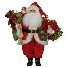 santa with wreath and gifts
