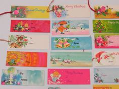Pretty Vtg Christmas Gift Tag Collection x24 Retro Pinks Gold
