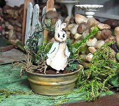 Miniature Dollhouse Furniture- Rabbit in washtub hand painted by Janet Peters