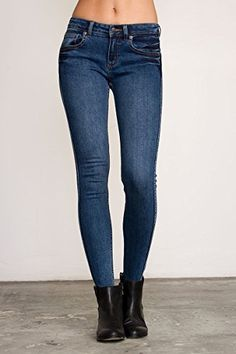 RVCA Juniors Lately Low Rise Skinny Jean Sanded Vintage 28 *** Click on the image for additional details.