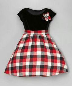 Loving this Kid Fashion Black & Red Plaid A-Line Dress - Infant, Toddler & Girls on Little Girl Outfits, Little Girl Fashion, Little Dresses, Little Girl Dresses, Toddler Fashion, Fashion Kids, Cute Dresses, Fashion Black, Fashion Wear