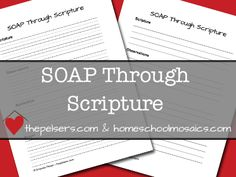 I love this method!!  Teach your kids to SOAP through Scripture. FREE printable notebooking page. At thepelsers.com.