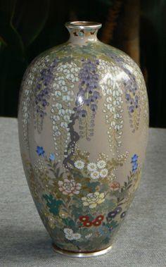 Japanese Cloisonne Enamel Vase  Murase or Kawano
