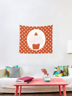 'strawberry cupcake' Tapestry by demonkourai Strawberry Cupcakes, Tapestries, Floor Chair, Flooring, Unique, Home Decor, Hanging Tapestry, Decoration Home, Room Decor