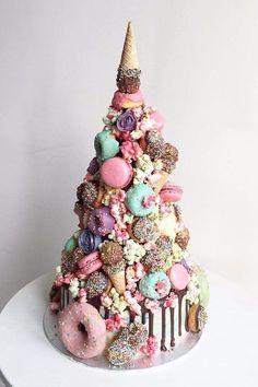 Cake Combines Our Favorite Unicorn Desserts #weddingcakes