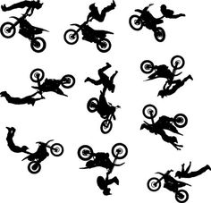Motocross Wall Decal Sticker Set of 10  Decal Stickers and Mural for Kids Boys Girls Room and Bedroom Dirt Bike Wall Art for Home Decor and Decoration  Extreme Sport Motocross Bike Silhouette Mural *** Check this awesome product by going to the link at the image.